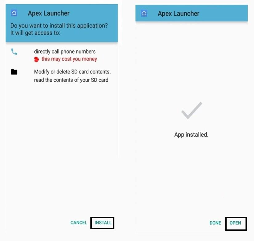 Install APex Launcher