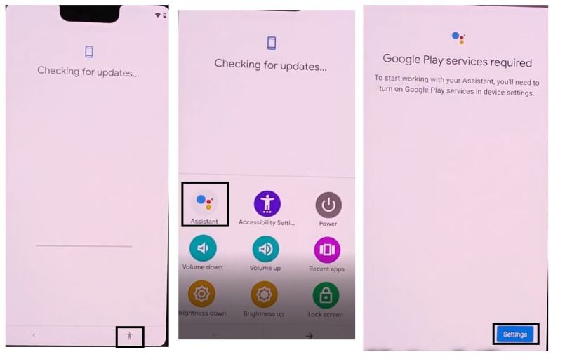 Tap Assistant to bypass unlock Google Pixel Android 11 devices