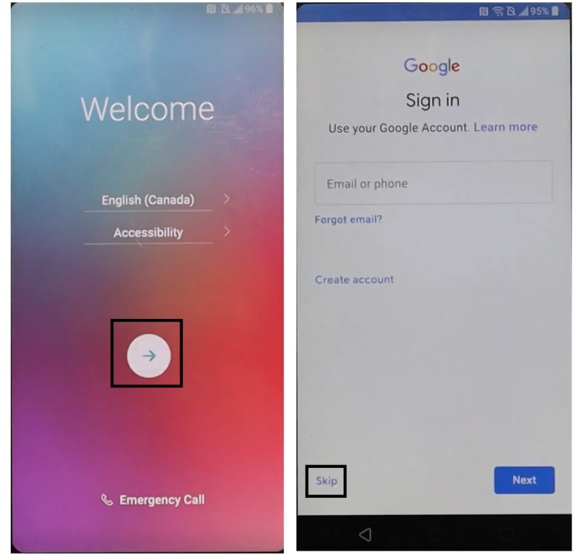 Tap Skip to Successfully LG Android 9 FRP Bypass Google Account Unlock
