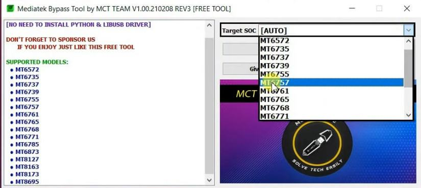 Select Target Chipset in MCT Mediatek Auth Bypass Tool