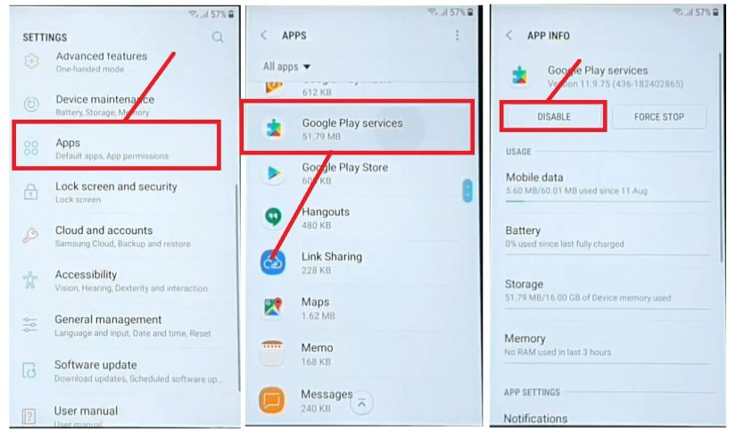 Disable Google Play Services to Samsung Bypass Unlock Google Account
