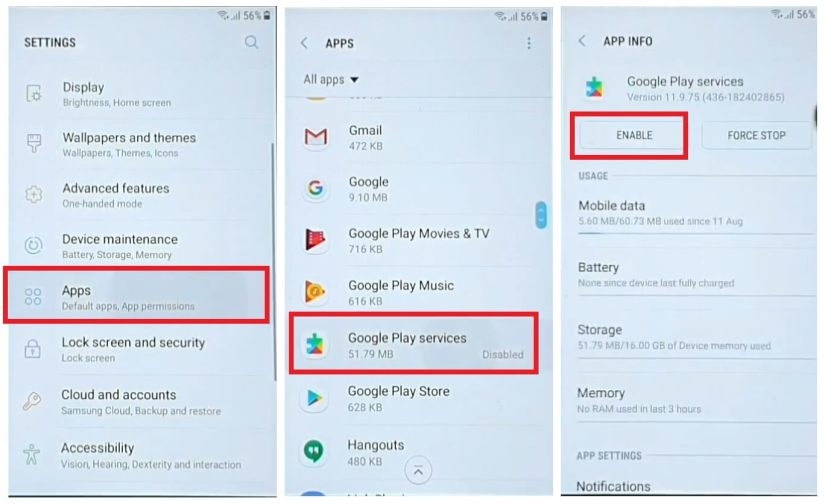 Enable Google Play Services to Samsung Bypass unlock Google Account