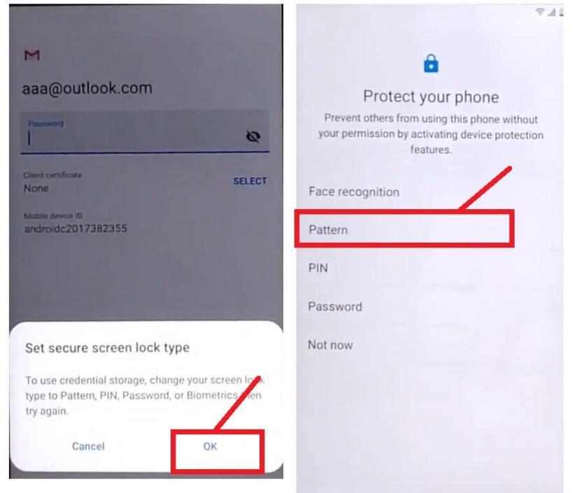 Draw pattern to bypass FRP unlock Google Samsung