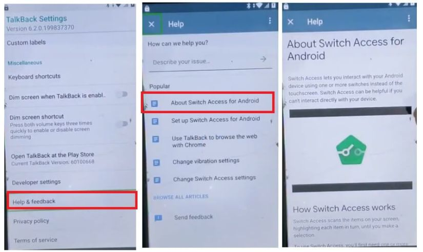 About Switch Access Android to HTC Android 8 FRP Bypass Unlock Google Account GMAIL verification