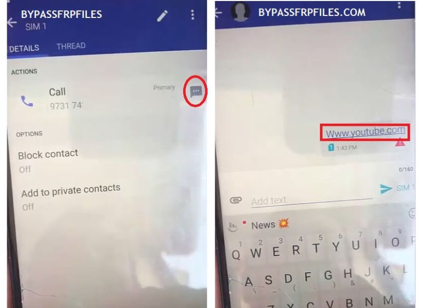 Type Youtube.com to HTC Android 9 FRP Bypass Unlock Google Account Verification