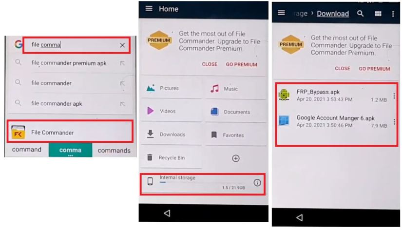 Open File Commander to Sony Android 6 FRP bypass Unlock Google Account Without PC