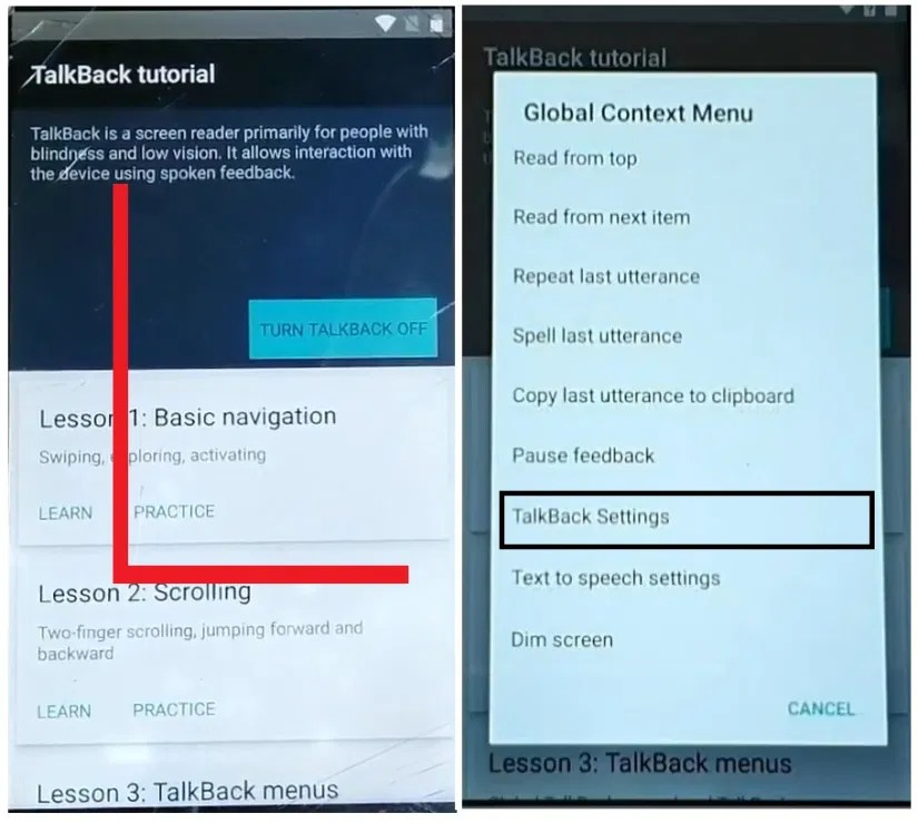 Draw L to enable Talkback to Walton/Symphony/Wiko Android 7 FRP Bypass Unlock Google Account