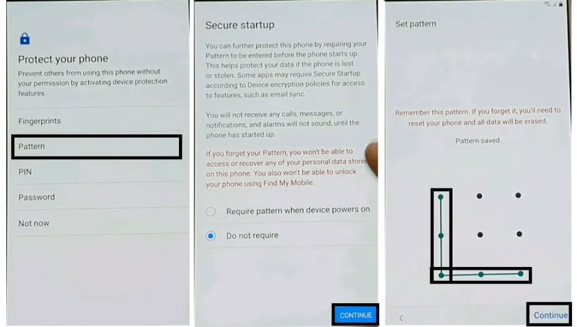Draw Pattern to Samsung Android 9.0 FRP Bypass Unlock Google Without PC