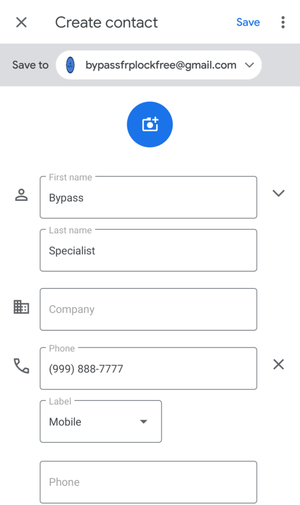Samsung FRP Bypass needs to save a contact.