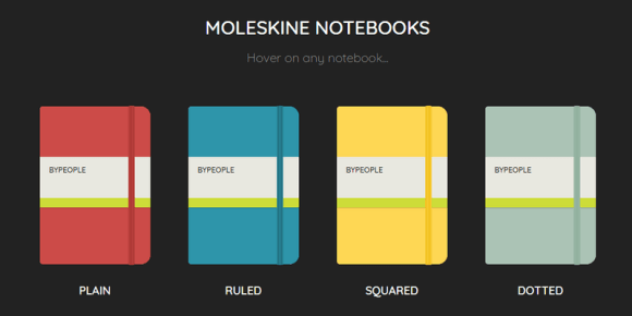 Pure Css Animated Moleskine Notebooks Bypeople