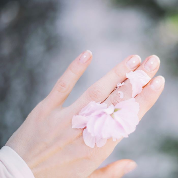 Close-up of a hand with flower petals on top