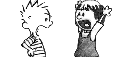 An image of Calvin and Susie arguing from Bill Watterson's Calvin & Hobbes.