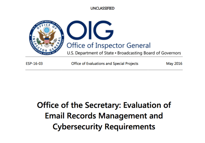 Cover page of the Inspector General's Report on email record management and security