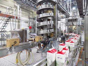 aseptic manufacturers image of milk containers in assembly line