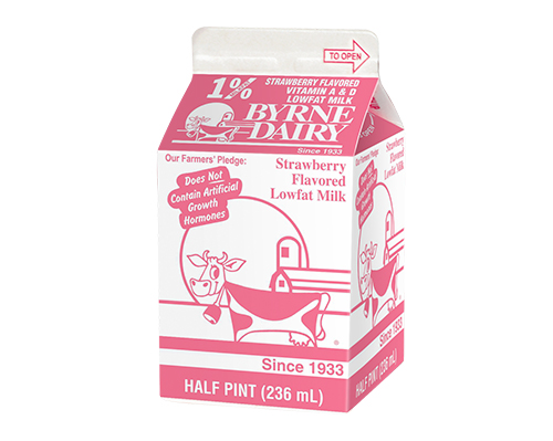 Strawberry Milk in a Half Pint Image from Byrne Dairy - Strawberry Milk