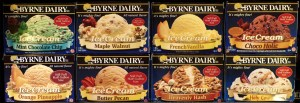 Tub of Ice Cream Flavors from Byrne Dairy