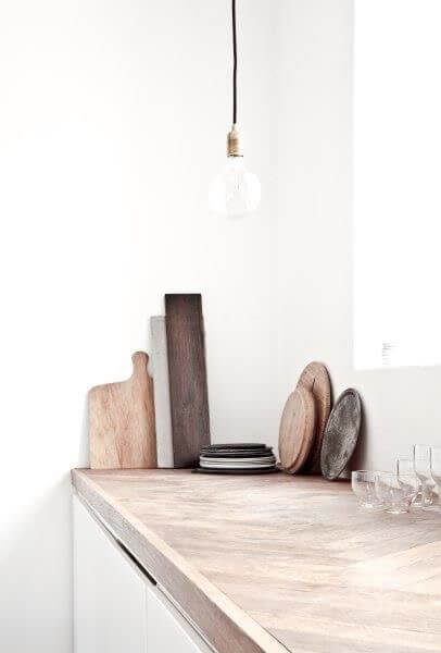 kitchen with wooden chopping boards
