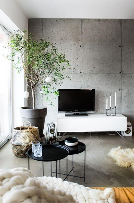 boconcept media unit with concrete wall