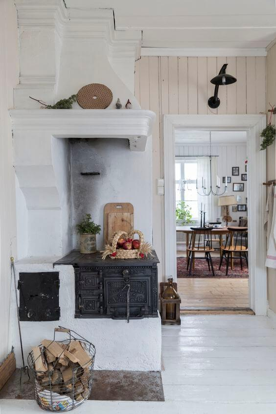 rustic kitchen with wood burning stove