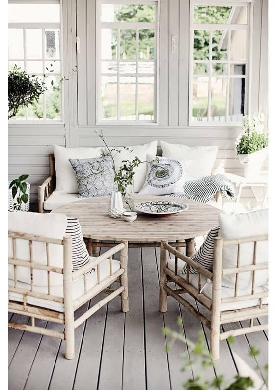 bamboo patio seating set