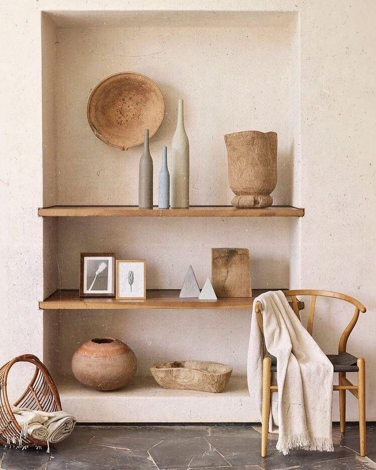 Open shelves with muted colour palette