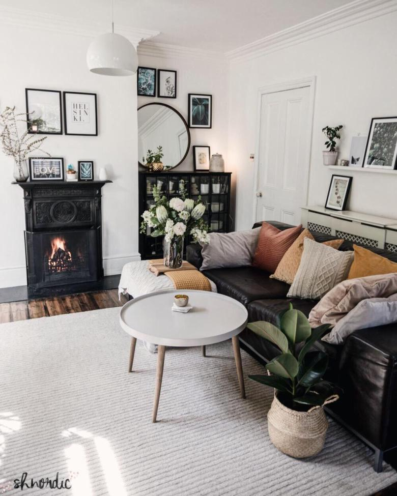 cosy living room with monochrome palette
