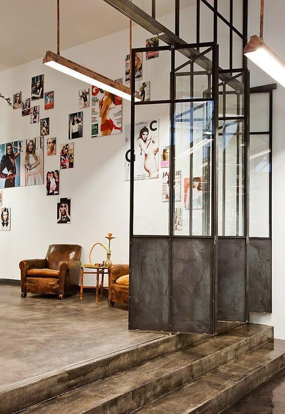 polished concrete floors and rustic metal doors