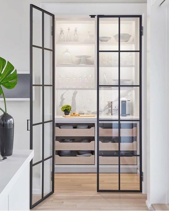 walk in larder with crittal style doors