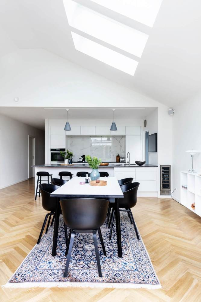 modern kitchen with roof lights