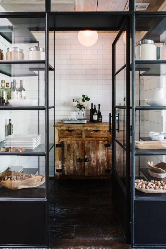 larder with crittal screens and vintage wooden unity