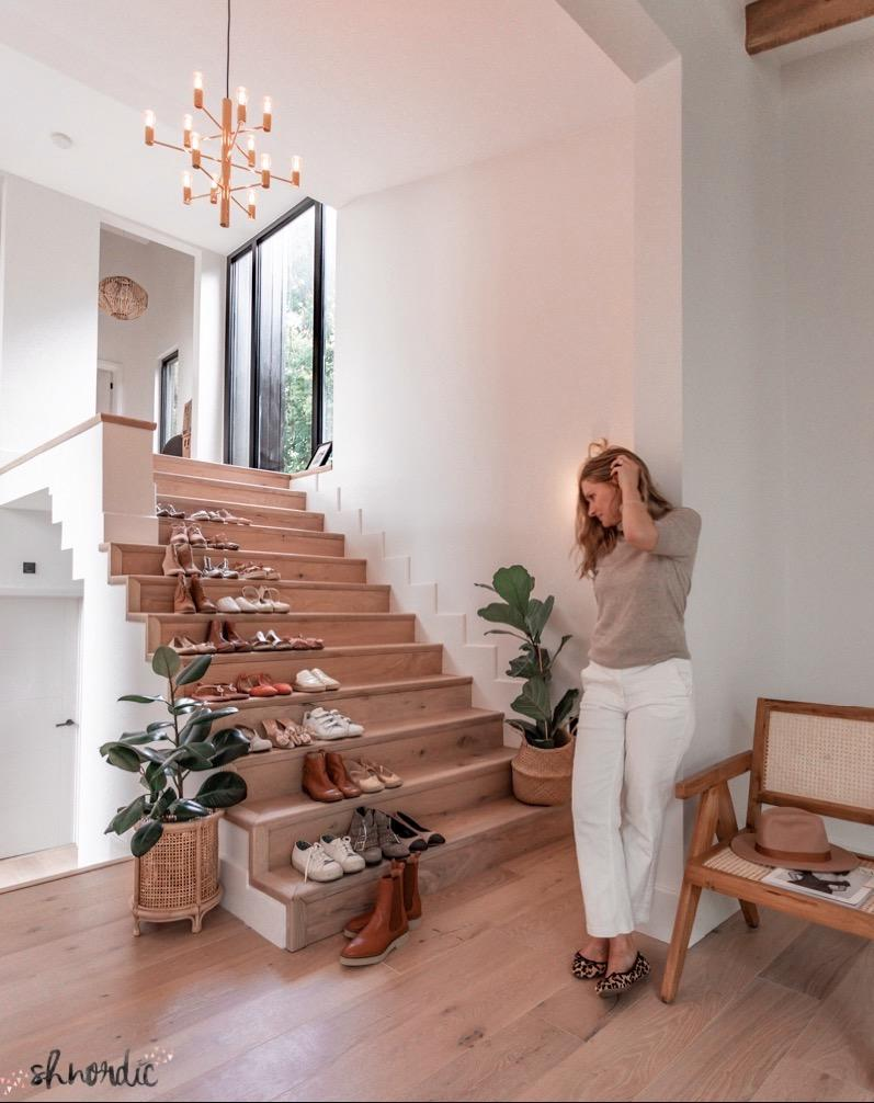 hallway and staircase with shoes