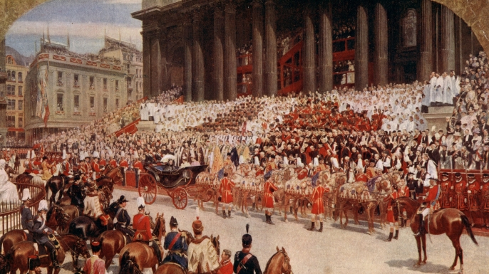 Queen Victoria arrives at St Paul's Cathedral for her Diamond Jubilee celebrations. (Credit: Hulton Archive/Getty Images)