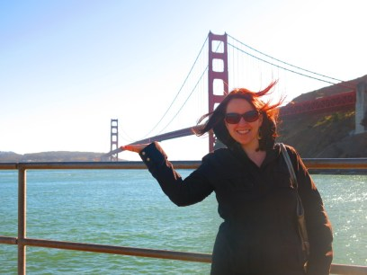 The Golden Gate in all its glory -- and my hair in a glory all its own.