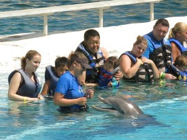 Getting ready for the dolphin experience at Sea Life Park.