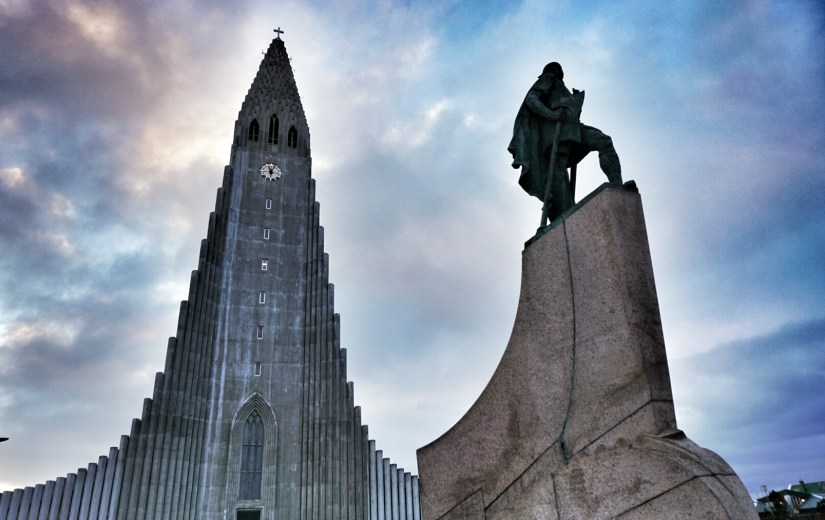 Hallgrímskirkja and a statue of Leifur Eiriksson, the first European to discover America.