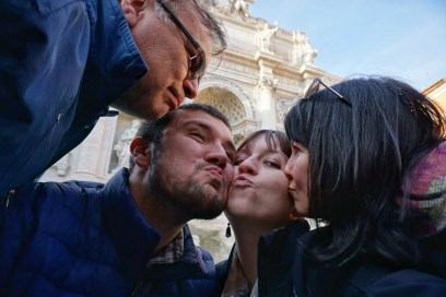 Family love at the Trevi Fountain!