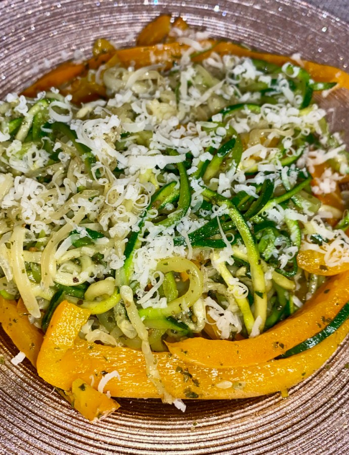 Zucchini Spirals with Julienned Peppers
