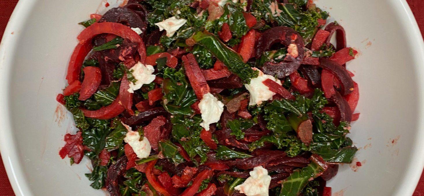 Warm Spiraled Beet and Sweet Potato Salad