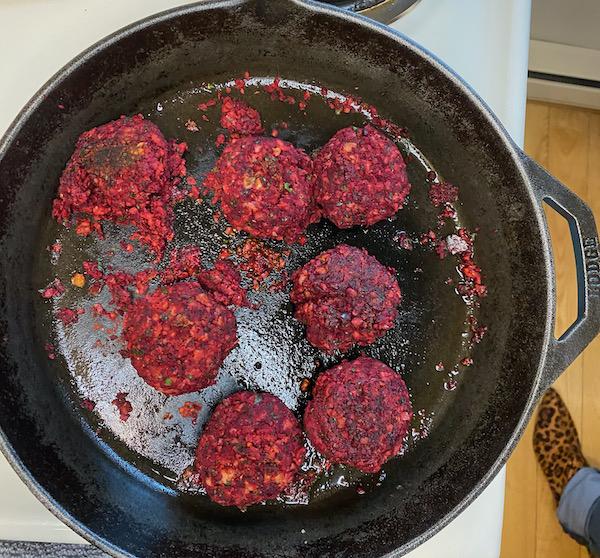 Beetroot Falafel Patties Searing
