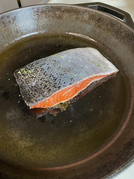 Salmon Skin Facing Up