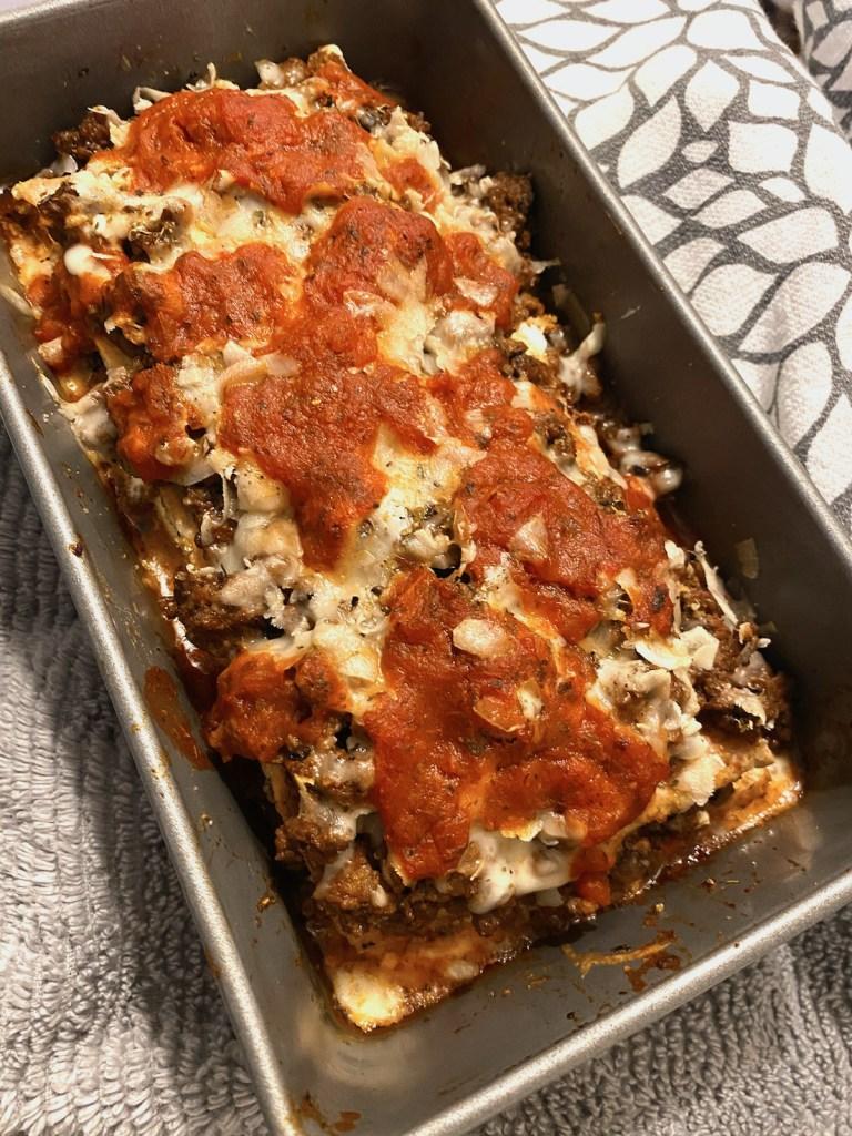 Cheesy Keto Lasagna Loaf, Baked