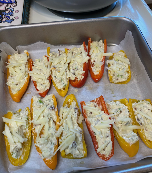 Cheesy Mini Peppers, Loaded and Ready to Bake