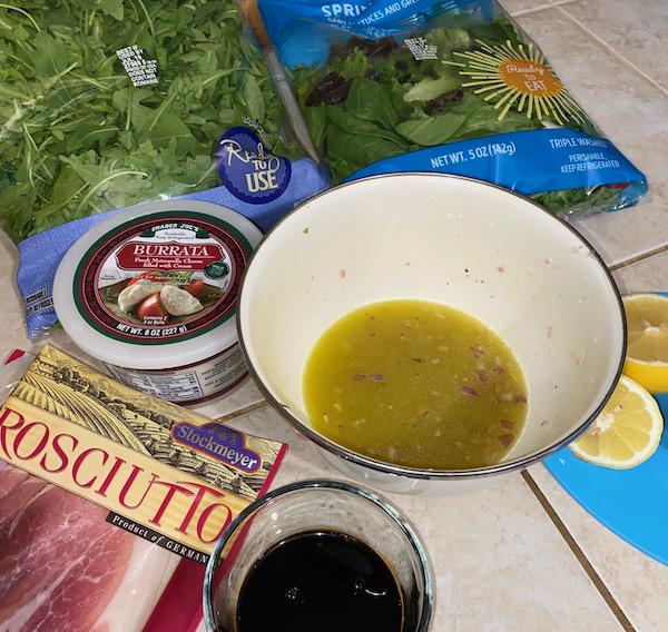 Vinaigrette for Peach, Prosciutto, and Burrata Salad