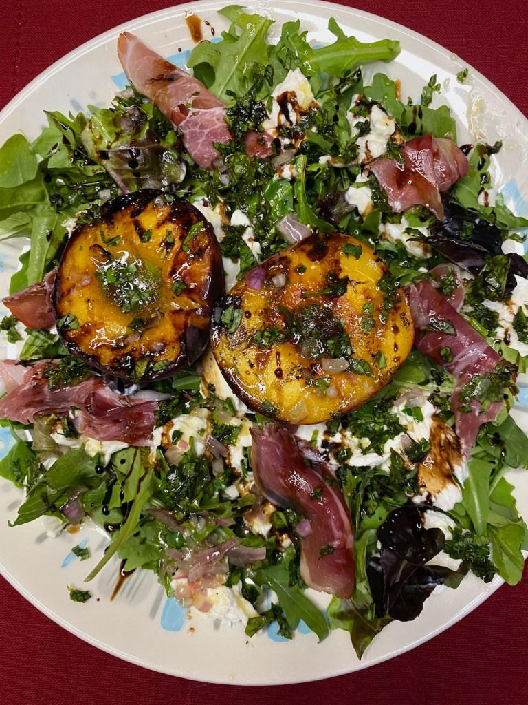 Grilled Peach, Prosciutto, and Burrata Salad