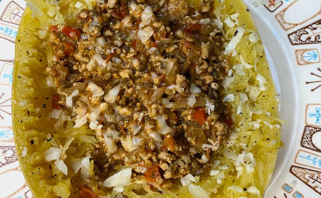 Turkey Ragu Stuffed Spaghetti Squash