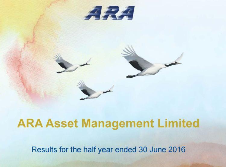 ARA Cover - ARA post 1H16 net profit of S$38.7 million
