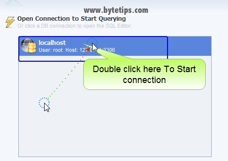 How to open Connection in MySQL Workbench