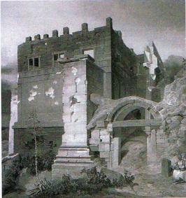 (Πύλη Beule προ της κατεδαφίσεως του βυζαντινού τείχους.1835 μ.Χ. K.W. Heideck.)
