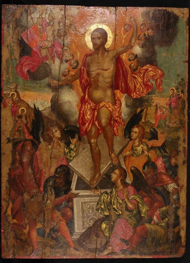 Φορητή εικόνα της Ανάστασης του Χριστού. Ζωγράφος: Ηλίας Μόσκος. 1679. Από τα Επτάνησα. ΒΧΜ 1578