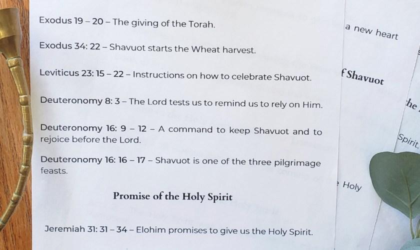 Shavuot Scriptures Printable